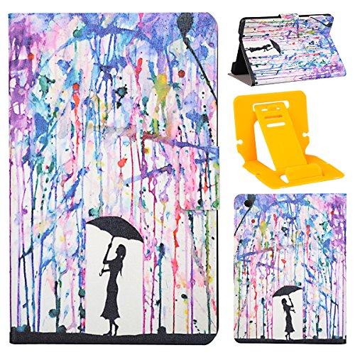 iPad Mini 3 étui à Rabat avec Support,iPad Mini 2 Housse,Ekakashop Dessin Animé Motif Fille Umbrella PU Cuir Protecteur Shell Case Tablette Couverture Protective Covers Case avec Magnétique PU Clapet  Fille Umbrella