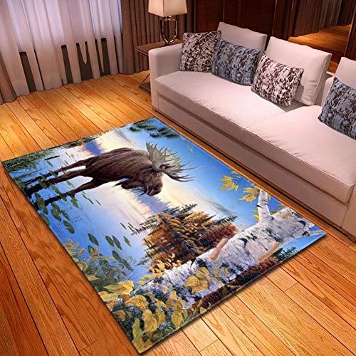 XiaoHeJD Decoración del hogar Alfombra Impresa 3D Lobo Estrellado Salón Dormitorio Sofá atrapasueños Alfombra Cocina Juego de alfombras, D19017-M039,121.9 * 160.0CM