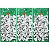 36 Packung Weihnachten Schleifen 50 mm Dekorative Schleife für Weihnachtsbaum, Dekorationen, Geschenke, Kunst und Handwerk (Silber)