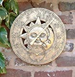 Garden Mile® Large Vintage Sun & Moon Garden Indoor/Outdoor Wall Clock Thermometer Decorative Fence Ornament Thermometer Mountable Weatherproof Weather Station Thermometer Suitable for Kitchen / Home (Bronze Sun & Moon 30cm Clock (GCLOCK10))