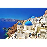 Jigsaw Puzzles 1000 Pieces Puzzles for Adults Dreamy Aegean Sea Greece Santorini Landscape Puzzle 30 x 20 inch for Family Wal