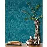 Rasch Damask Muster Tapete Blumenmuster Blattmotiv geprägt metallische Glitzern - 308518 türkis