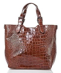 italienische Damen Handtasche Lima aus echtem Leder in haselnuß braun, Made in Italy, Shopper 31x30 cm