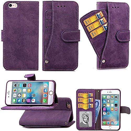 iPhone Case Cover IPhone 6 6s cas, fleurs en relief rétro folio Premium PU cuir étui magnétique fermeture de portefeuille style de style main couverture sangle pour iPhone6 