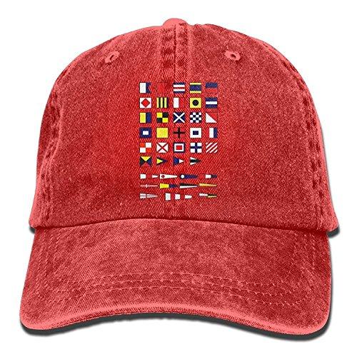 Nautical Alphabet Maritime Signal Flags, Sailing Navy Yachting Adult Fashion Unisex Cowboy Cap (Flags Navy Signal)