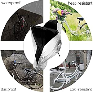 Waterproof Bike Cover Outdoor Anti Dust Rain Sun UV Protection Bicycle Protective Cover for Mountain, Road, Cruiser Hybrid Bikes 29er Stored Outdoors or Indoors