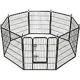 TecTake Parque para mascotas valla libre corriendo jaula para animales 8 vallas
