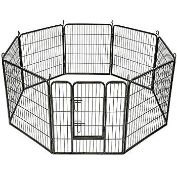 TecTake Parc enclos exterieur pour chiot grillage installation à ciel ouvert - diverses modèles - (8 panneaux | no. 401717)