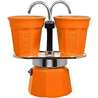 Bialetti Mini Express Color Set Cafetière 2 tasses + 2 verres Aluminium Arancione