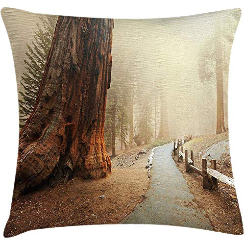 tgyew Throw Pillowcase Pillow Cover Americana Landscape Decor Cushion, Forest with Giant Tree Body in The Foggy Forest Yosemite Mist Woodland, Decorative Square Accent Case, 18 X 18 inches, Brown - Mist Fringe
