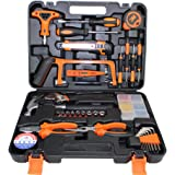 Gluckluz Household Tool Kits 82 Pcs Home Repair Maintaining DIY Hand Toolbox Portable Carbon Steel Hardware for Car Home Furn