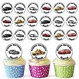 Vorgeschnittener Personalisierter Sport Auto Mix - Essbare Cupcake Topper / Kuchendekorationen (24 Stück)
