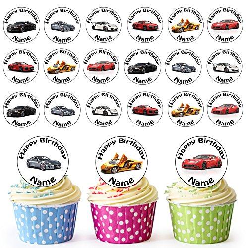 (Vorgeschnittener Personalisierter Sport Auto Mix - Essbare Cupcake Topper / Kuchendekorationen (24 Stück))