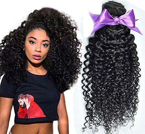 ngfrau 7A Klasse Kinky Gelockt Menschliches Haar 3 Bundles / Pack Mix Längen Haarverlängerungen , 8 10 12 (Halloween-färbung Tischsets)
