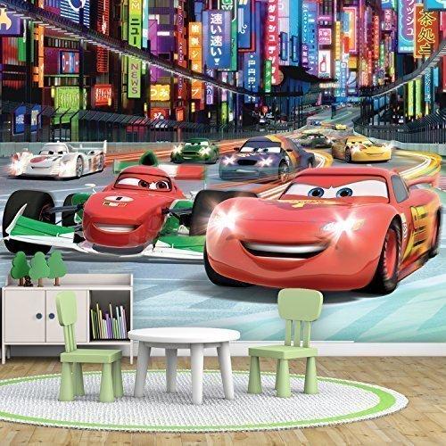 Walplus X3-I6WP-J0A0 - Mural de pared, diseño Disney Cars, papel pintado, grande, para niños, 304 x 243