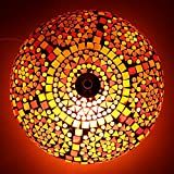 EarthenMetal Handcrafted Mosaic Decorated Circular Red Glass Ceiling Lamp