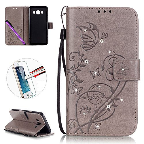 Sumsung Galaxy J5 J510 (2016) custodia a portafoglio in pelle, Newstars fiori farfalla goffratura in rilievo in poliuretano Phone Covers proteggere la pelle in pelle per Galaxy J5 J510 con cavalletto carte/Cash Pocket + 1PCS pellicola + pennino capacitivo incluso