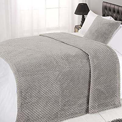 Dreamscene Luxury Waffle Soft Mink Warm Throw Over Sofa Bed Blanket 125 x 150 Grey produced by Dreamscene - quick delivery from UK.