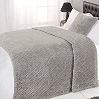 Dreamscene Waffle Soft Mink Warm Throw Over Sofa Bed Blanket 125 x 150, Polyester, Silver Grey, Single