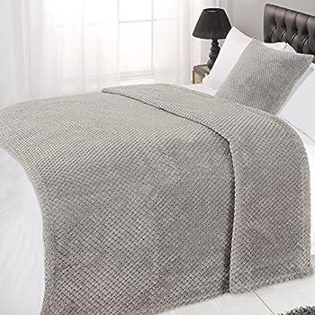 Dreamscene Luxury Waffle Soft Mink Warm Throw Over Sofa Bed Blanket 125 X  150 Grey