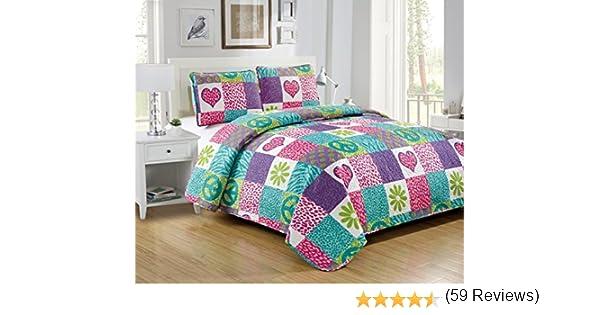 violet Fancy Collection Lot de 3 couvre-lits pour adolescents//filles Motif safri Rose violet Full 3pc Bedspread