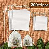 HuLuBB 200 Stücke Teebeutel Einweg mit Holzlöffel Kordelzug Dichtung Leere Papier Verwenden für Loseblatt Blume Fruit Tees Chinesische Kräutermedizin (Weiß - Gemischte Größen)