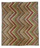 Nain Trading Kelim Afghan Distressed 239x196 Orientteppich Teppich Beige/Dunkelbraun Handgeknüpft Afghanistan