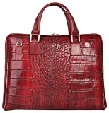SAMANTHA LOOK Aktentasche echt Leder rot Damen A4-Ordner: nein Schultergurt abnehmbar, Schultergurt verstellbar, Innentasche(n), Fächer, Visitenkartenfächer