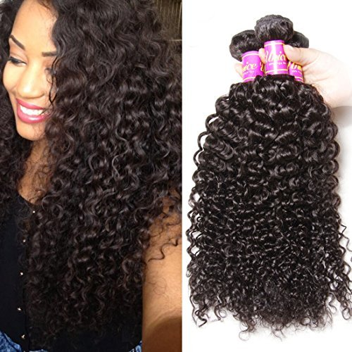 tissage cheveux vierges brésiliens 3 lots bouclés 16 18 50,8 cm cheveux non traités Extensions de cheveux humains Couleur naturelle peut être séché et blanchi