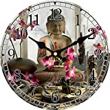 HUSHIJIAN Vintage Bouddha Conception Horloge Silencieux Salon Cuisine Décor À La Maison Mur Art Grand Horloges Murales Pas De Son Ticking