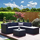 Rattan Modular Corner Sofa Set Garden Conservatory Furniture 5 To 9 Pcs INCLUDES GARDEN FURNITURE COVER (Barcelona, Black with Dark Cushions)