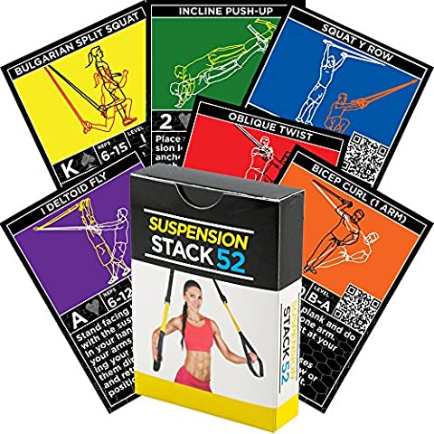 Suspensión ejercicio tarjetas por pila 52. Para TRX, WOSS, y ritfit Trainer correas. Suspensión de peso corporal resistencia entrenamiento juego. Vídeo Instructions included. Diversión En Casa Fitness programa de