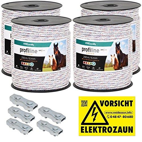 *800m Kunststoffseil 6mm mit Seilverbindern Weidezaunseil Weidezaun Litze Kordel für Pferdezaun Pferdekoppel*