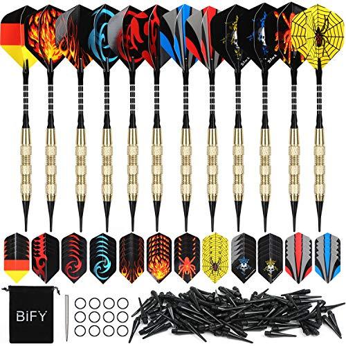 BIFY Dartpfeile 12 Stück Darts [18g/Stück](Internationaler Standard) 60 Flights 120 Spitzen Brass Darts Aluminum Shafts + 1 Steel Pin und Stoffbeutel
