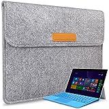 [Für Microsoft Surface Pro 3/4]Inateck Filz Sleeve Hülle Ultrabook Laptop Tasche Speziell für Microsoft Surface Pro 3/4 entworfen [ Größe: 33,5 cm x 23 cm, Verschluss mit Klettband, Farbe: Grau]