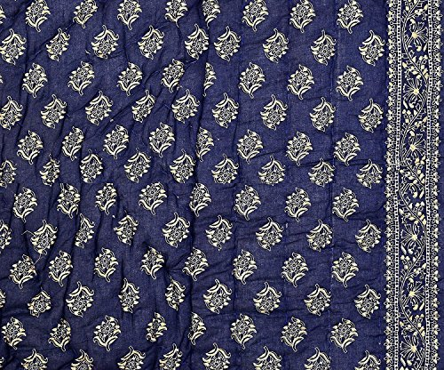 Krg Enterprises Jaipuri razai Dark Blue Double Bed Cotton Rajasthani Sanganeri floral print quilt blanket Dark Blue,