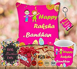 Aart Happy Raksha Bandhan | rakshabandhan gift for brother | rakhi gift for sister | gift for rakshabandhan | gift for rakhi Superior quality Cushion (16 X 16) with Filler, Ceramic Mug Capacity: (350 ML), Keyring and Greeting Card for Raksha Bandhan Gifts.