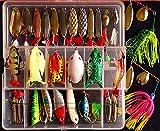 Afishup 32pcs Pêche Leurres Kit Spinner Appâts Leurres en Métal Dur VIB Minnow Popper Grenouille Leurres avec Boîte de pêche