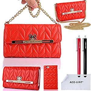 ACO-UINT Premium Stylish Wallet Leather Clutch Purse Case Cover for iPhone 5 5S with Chain Strap, Two Stylus Pens/2 Screen Protector/ACO-UINT Microfiber Cleaning Cloth Included (Chain Strap Case hot red)