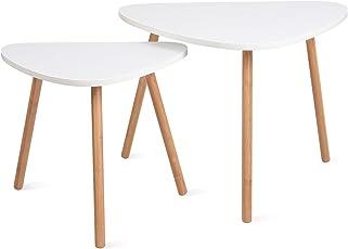 Charmant HOMFA 2x Beistelltisch Weiß Couchtisch Rund Wohnzimmertisch Skandinavisch  Kaffetisch Klein Satztisch Set Groß(60x39,