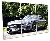 Canvas Geeks Mercedes AMG GT Voiture de Sport des aigus encadrée Impression sur Toile Murale d'art, 60cm Wide x 40cm High