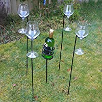 Woodside Outdoor Picnic BBQ Barbecue Wine Bottle & 4 x Glass Holder Stake Set