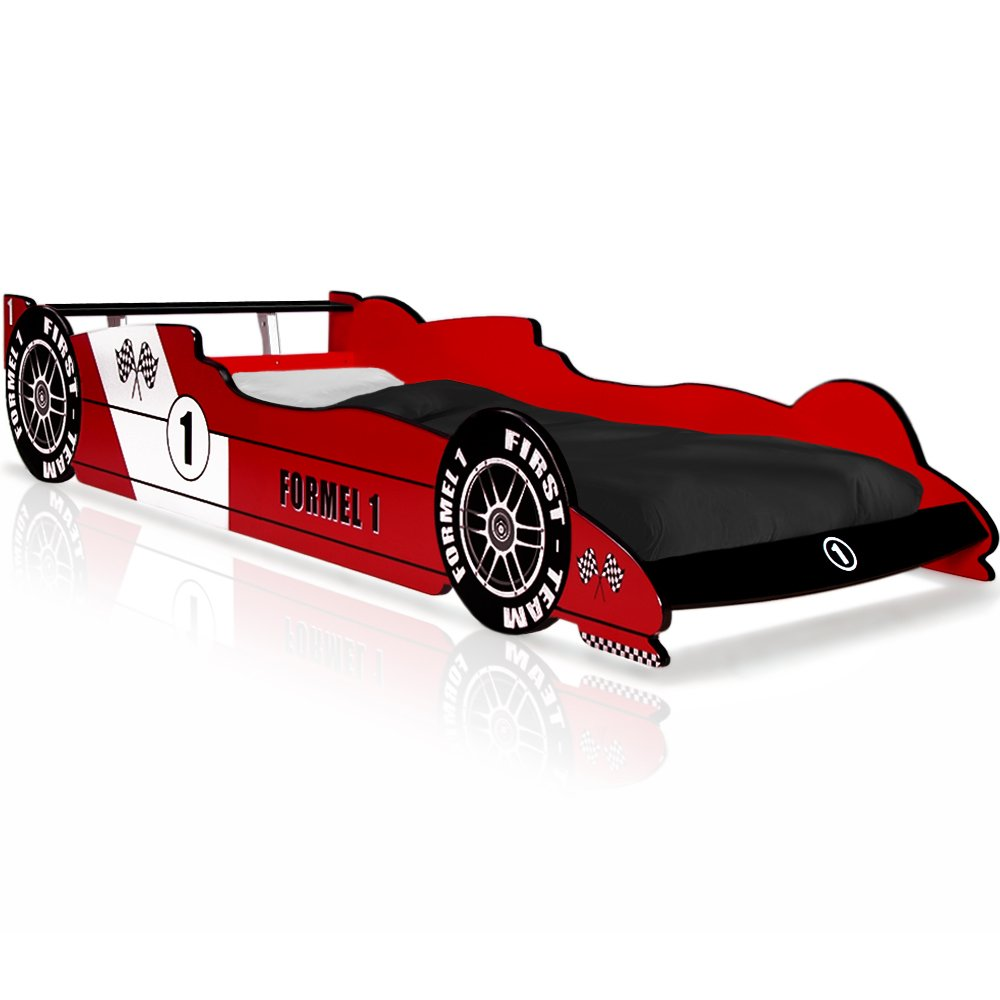 Lit voiture F1 enfant design Formule 1 - rouge - coins arrondis ...