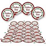 96 weihnachtliche Aufkleber rund ROT GRÜN weiß FROHES FEST Geschenkaufkleber Weihnachtsaufkleber Verpackung Weihnachtsgeschenke