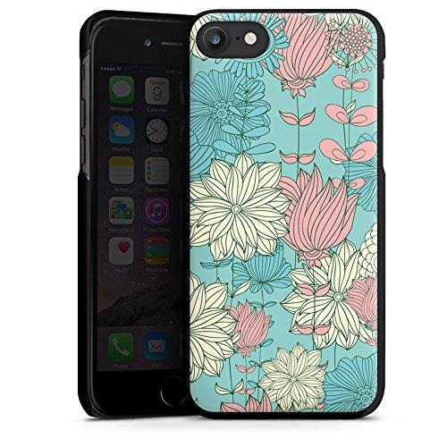 Apple iPhone X Silikon Hülle Case Schutzhülle Blumen Muster Bunt Hard Case schwarz
