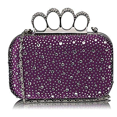 TrendStar Wulstige Clutch Taschen Damen Kasten Diamante Abend Handtaschen Damen Hochzeitsfest Neu Taschen (Lila) (Box-clutch-schwarz-abend-taschen)
