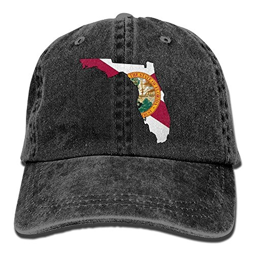 otton Denim Baseball Cap Abstract Florida State Map with Flag Classic Dad Hat Adjustable Plain Cap ()
