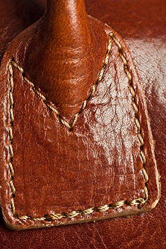 LiaTalia italienische Echtledertasche Top Griff Schnalle Detail Mittelgroßer Ranzen Schulter Handtasche mit Schutztasche - Megan z ** Sale - Rot - Schwarz Trimmen