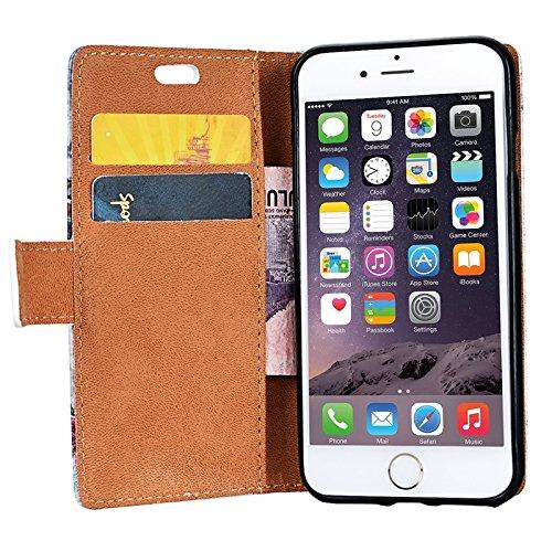 iPhone 7 Hülle, Yokata Flip PU Leder Case Backcover Cover Bookstyle mit Standfunktion und Magnetverschluß Tasche Schutzhülle + 1x Kapazitive Feder Baum 3
