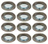 Trango 12er Set LED Einbaustrahler Einbauleuchten Deckenleuchten in Edelstahl-Look inkl. 12x 3000K warm-weiß LED Leuchtmittel schwenkbar TG6729-122B